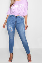 Boohoo | Plus Distressed Washed Skinny Jean | Clouty