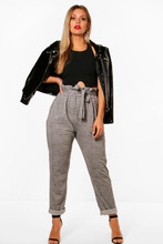 Boohoo | Plus Check Paperbag Tapered Trouser | Clouty