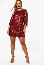 Boohoo | Plus Tassel Sequin Shift Dress | Clouty