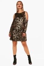 Boohoo | Plus Open Shoulder Pattern Sequin Dress | Clouty