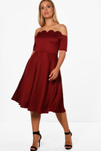 Boohoo | Plus Scallop Off Shoulder Midi Skater Dress | Clouty