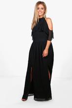 Boohoo | Plus Chiffon Frill Open Shoulder Maxi Dress | Clouty