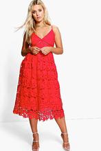 Boohoo | Plus Leila Applique V Neck Lace Skater Dress | Clouty