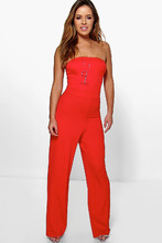 Boohoo | Petite Bandeau Wide Leg Jumpsuit | Clouty