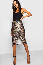 Boohoo | Tall Wrap Over Split Leopard Midi Skirt | Clouty