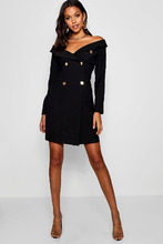 Boohoo | Tall Off The Shoulder Military Blazer Dress | Clouty