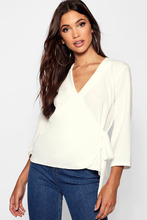 Boohoo | Tall Tie Side Wrap Blouse | Clouty