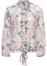 Bonprix | Блузка с воланами (розовый с рисунком) | Clouty