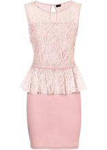 Bonprix | Коктейльное платье с кружевной верхней частью (дымчато-розовый) | Clouty