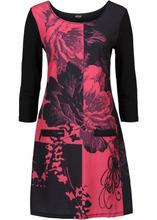 Bonprix | Трикотажное платье с молниями (черный/бордовый с узором) | Clouty