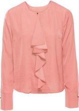 Bonprix | Сатиновая блузка с воланом (персиковый) | Clouty