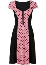 Bonprix | Платье со вставкой в горошек (коралловый/черный в горошек) | Clouty