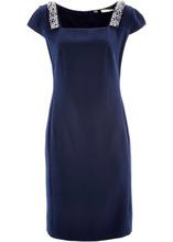 Bonprix | Платье-футляр ПРЕМИУМ со стразами (темно-синий) | Clouty