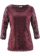 Bonprix | Кружевная футболка (кленово-красный) | Clouty