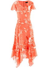 Bonprix | Платье с цветочным принтом (лососевый с рисунком) | Clouty