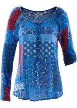 Bonprix | Блузка с длинным рукавом (геницианово-синий с узором) | Clouty