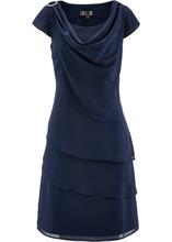 Bonprix | Многослойное шифоновое платье (темно-синий) | Clouty