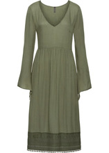 Bonprix | Платье с кружевом длины миди (оливковый) | Clouty