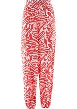 Bonprix | Широкие брюки (белый/коралловый с принтом) | Clouty