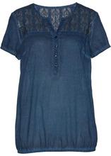 Bonprix | Блузка с кружевной отделкой и коротким рукавом (темно-синий) | Clouty