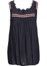 Bonprix | Блузка с кружевной отделкой (темно-синий) | Clouty