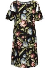Bonprix | Платье с вырезами и воланами (черный в цветочек) | Clouty