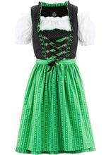 Bonprix | Короткое платье, блузка и фартук немецкого народного костюма (черный/зеленый) | Clouty