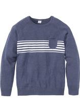 Bonprix | Пуловер Regular Fit с карманом (темно-синий меланж) | Clouty