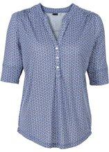 Bonprix | Блузка с застежкой на пуговицы (ночная синь с узором) | Clouty