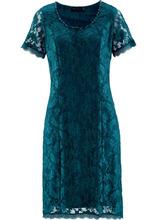 Bonprix | Кружевное платье (серо-синий) | Clouty