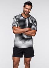 Bonprix | Пижама (черный/светло-серый меланж в полоску) | Clouty