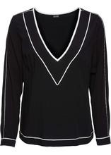 Bonprix | Блузка с окантовкой (черный/цвет белой шерсти) | Clouty