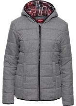 Bonprix   Стеганая куртка на клетчатой подкладке (серый меланж)   Clouty