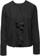 Bonprix | Сатиновая блузка с воланом (черный) | Clouty