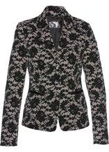 Bonprix | Пиджак с кружевным узором (каменно-бежевый/черный с рисунком) | Clouty
