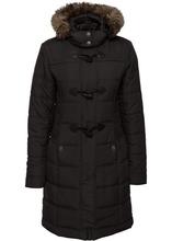 Bonprix | Стеганая куртка со съемным искусственным мехом (черный) | Clouty