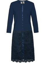 Bonprix | Длинный пиджак с кружевом (темно-синий) | Clouty