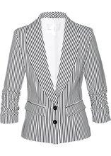 Bonprix   Пиджак с драпированными рукавами (черный/белый в продольную полоску)   Clouty