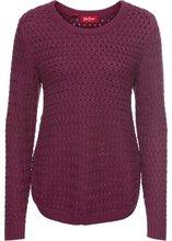 Bonprix | Пуловер с узором косичка и декоративными кнопками, длинный рукав (красная ягода) | Clouty
