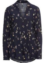 Bonprix | Блузка с запахом (темно-синий с рисунком) | Clouty