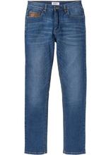 Bonprix   Джинсы-стретч Slim Fit с деталями из искусственной кожи, cредний рост (N) (синий)   Clouty