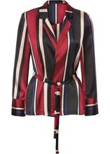 Bonprix | Пиджак из сатина с текстильным поясом (черный/темно-синий/красный в полоску) | Clouty