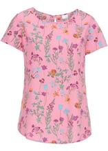 Bonprix | Блузка с коротким рукавом (матовый ярко-розовый в цветочек) | Clouty