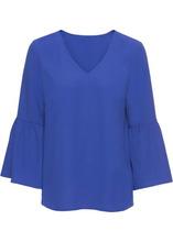 Bonprix | Блузка с расклешенным рукавом (сапфирно-синий) | Clouty