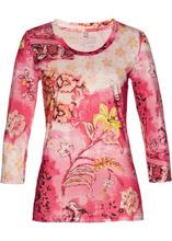 Bonprix | Футболка из ткани с рисунком и рукавами 3/4 (ярко-розовый/желтый с принтом) | Clouty