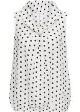 Bonprix | Блузка без рукавов (кремовый/черный в горошек) | Clouty