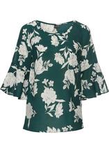 Bonprix | Блузка с цветочным принтом (темно-зеленый с узором) | Clouty