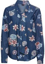 Bonprix | Блузка из денима, с принтом и бантом (темный деним) | Clouty