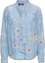 Bonprix | Блузка из денима, с принтом и бантом (нежно-голубой выбеленный) | Clouty