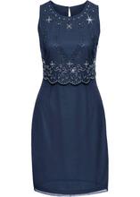 Bonprix | Платье с вышивкой (темно-синий) | Clouty